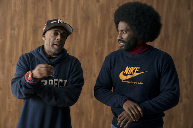 Director Spike Lee and actor John David Washington on the set of BlacKkKlansman, a Focus Features release. Credit: David Lee / Focus Features