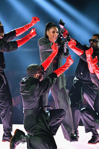 Ciara (C) performs onstage during the 2019 Billboard Music Awards  - Photo by Jeff Kravitz