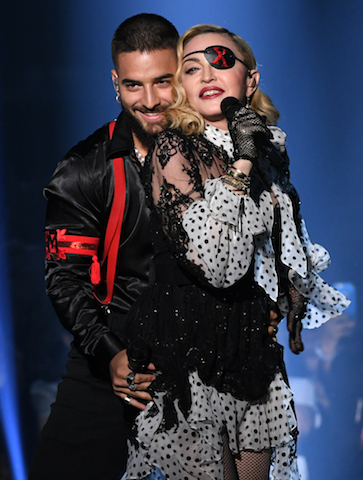 (L-R) Maluma and Madonna perform onstage - Photo by Kevin Winter