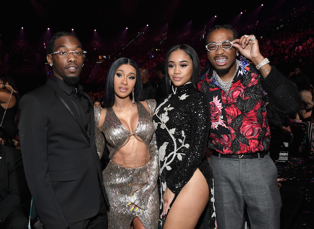 (L-R) Offset of Migos, Cardi B, Saweetie, and Quavo of Migos attend the 2019 Billboard Music Awards - Photo by Kevin Mazur